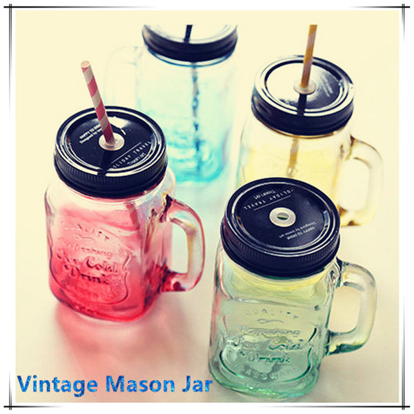 2015 My Personality Gradient Color Mason Jar Bottle For icecream Fruit Installed Cold Drink Infusion Colored Glass Water Bottles