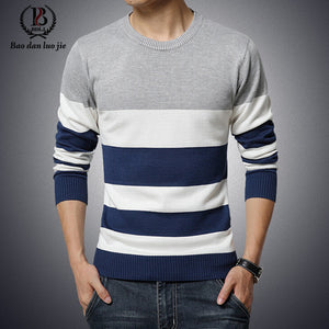 2015 New Autumn Fashion Brand Casual Sweater O-Neck Striped Slim Fit Knitting Mens Sweaters And Pullovers Men Pullover Men 5XL