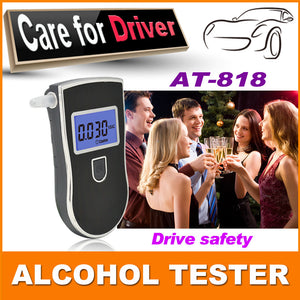 2015 NEW Hot selling Professional Police Digital Breath Alcohol Tester Breathalyzer AT818 Free shipping+10pcs mouthpieces