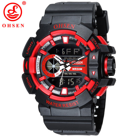 2015 OHSEN Men Sports Watches Plastic LED Digital Analog Quartz Wristwatches Army Water Resistant 30m Watch Luxury Brand AS08