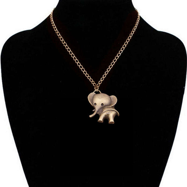 2015 Vintage Gold Crystal Elephant Pendant Necklace Men Retro Silver Long Chain Necklaces Women Jewelry Gift Colares Femininos