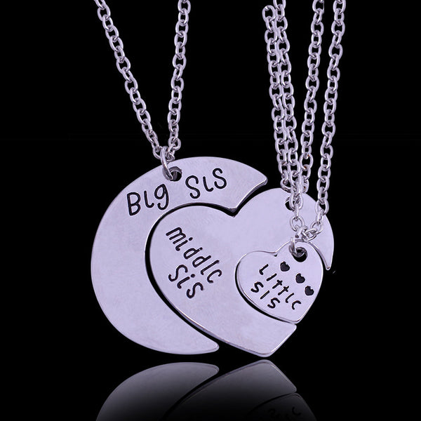 2016 3 Sister Necklace THREE Piece Splice HEART Jigsaw Puzzle Necklace Sets Made of Alloy Best Friends Gift for friends