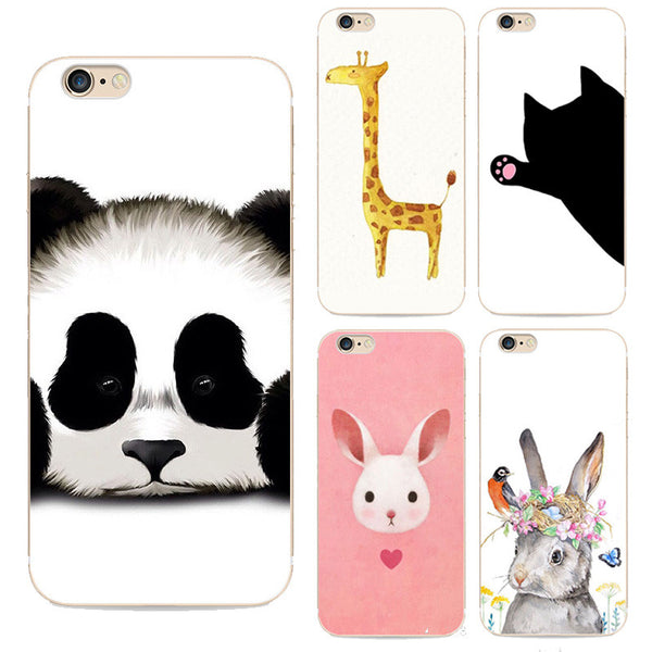 2016 Animal Lovely Cartoon Soft Tpu Back Cover Phone Case For Apple Iphone 6 6s Design Panda Tiger Anime Girl Pattern Coque