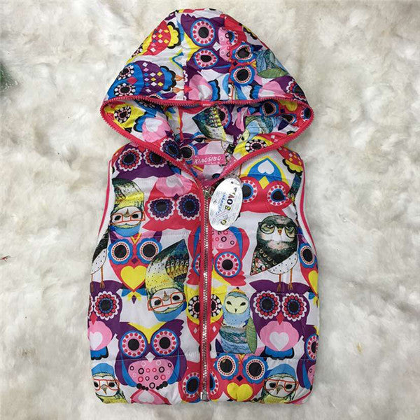 2016 Autumn Girl Vests Jacket Kids Clothes Character Fashion Children Clothing Hooded Waistcoats Casual Baby Girls Vest Coats