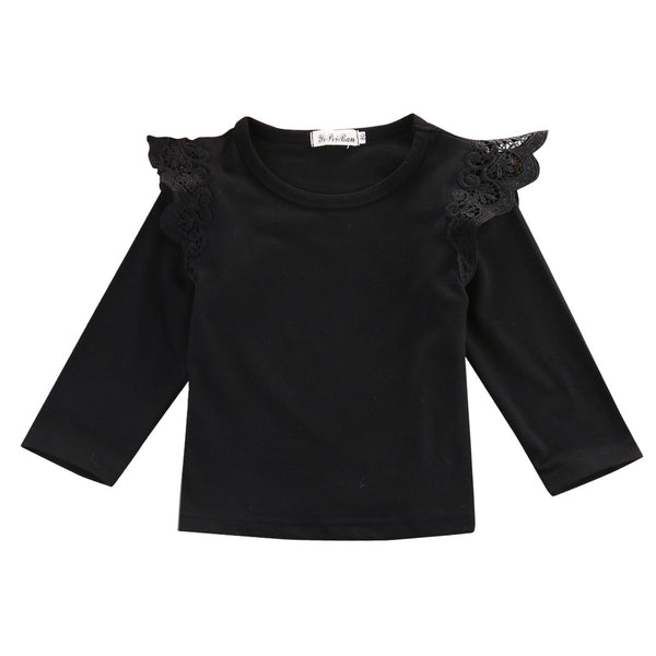 2016 Autumn Newborn Baby Girls Toddler Kids Clothes Cotton Lace Flying Long Sleeve T-shirts Tops Outfit Blouse