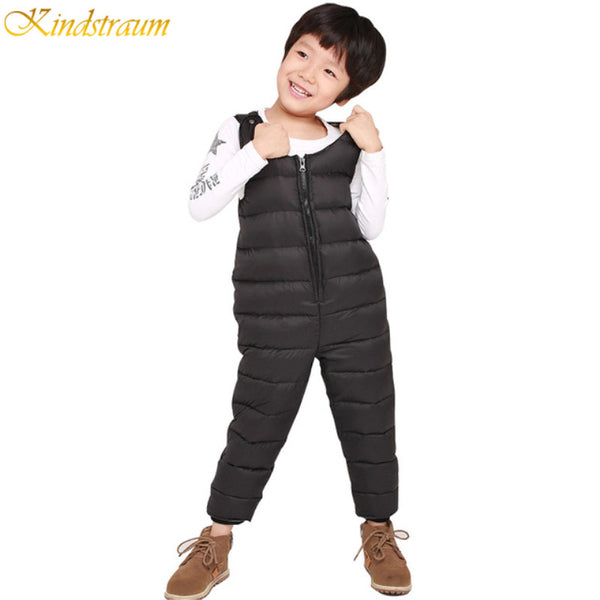 2016 Children Down Overalls Winter Baby Boys & Girls 90% White Duck Down Padded Thermal Suspender Trousers Kids Pants HC544