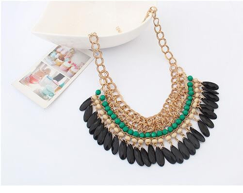 2016 Collier Femme Bohemian Resin Beads Collares Water Drop Pendant Necklaces Gold Choker Colar for women jewelry Accessories