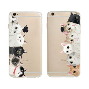 2016 Fashion Girls Brand New Animal Because Cat Design Ultra Soft Tpu Transparent Mobile Phone Case Cover For Iphone 6 6s 4.7