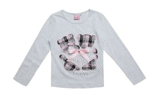 2016 Fashion Kids Clothing For brand omika Long Sleeve Girls T shirts Plaid Rhinestone Bow Cute Coton Clothes tops