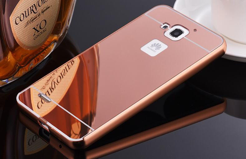 2016 Fashion Metal Aluminum Frame Acrylic Plastic Mirror Back Cover Case For Huawei Y5 II Y5II 2 Y3 II Y3II 2 mirror Funda case