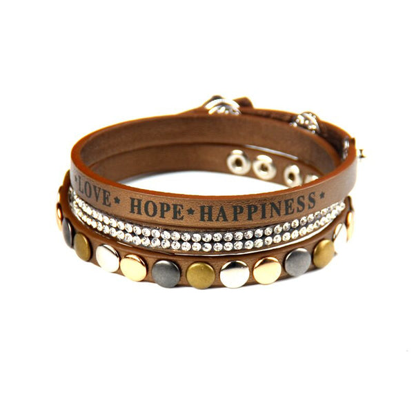2016 Fashion new brand Fine jewelry rhinestone Newest Crystal rivet love hope happiness leather warp bracelet for women