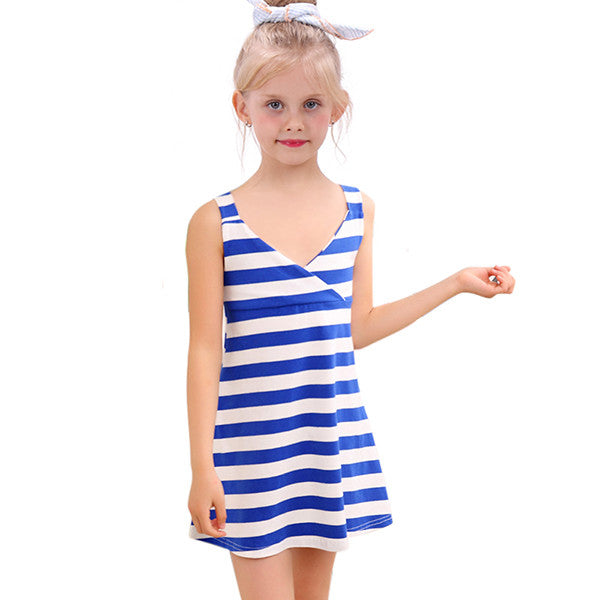 c7e7ce084 2016 Girl Striped Summer Dress Fashion Little Girl Backless Dresses ...