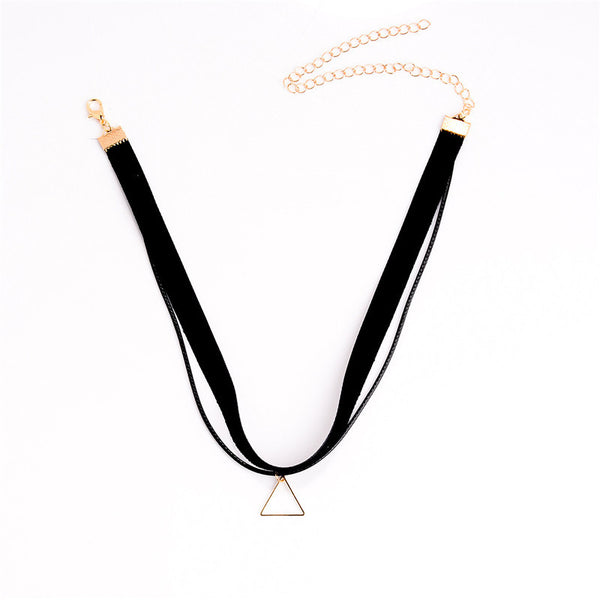 2016 Hot Faux Leather Choker Fashion Simple Black Velvet Rope Triangle False Collar Necklace for women Tassel Pendant Necklace