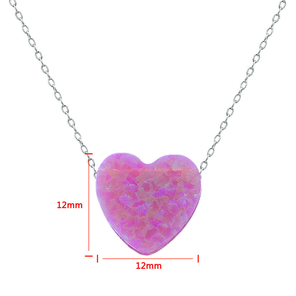 2016 Hot Opal Necklaces 925 Silver Choker Necklace Heart Shape Design Opal Pendant Exquisite Beautiful Women Necklace Jewelry