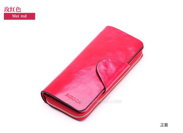2016 Hot Sales First Layer Of Cowhide Female Wallets Zipper Genuine Leather Long Design Lovers Men Women Wallets