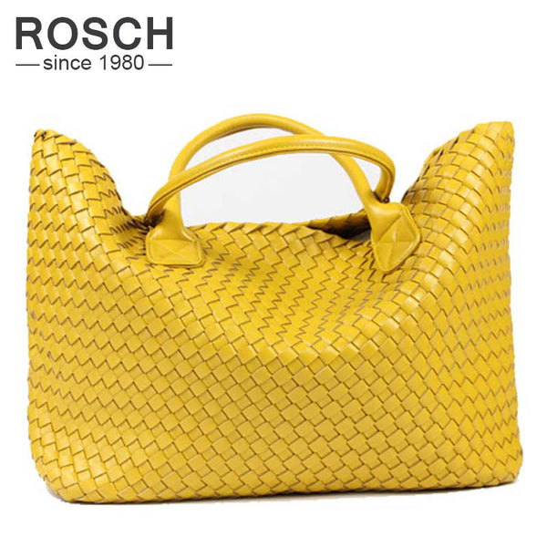 Rosch Criss-cross Knitting Pu Handbags Women P0001-yellow