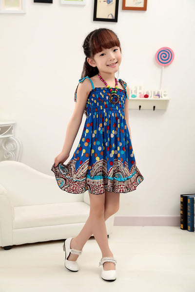 2016 New 2-7T girls dresses summer bohemian style dress for girls Fashion Knee-length girls beach dresses sundress with necklace
