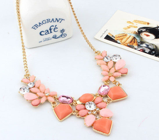 2016 New Arrival Resin Fashion Colorful Cute Charm Gem Flower Necklaces & Pendants Fashion Jewelry Woman Gift Summer Style 749