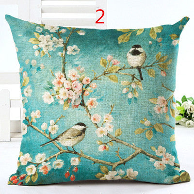 2016 New Arrive Cotton Linen Cushion Flowers Print Sofa Throw Pillowcase Home Decorative Square Pillow