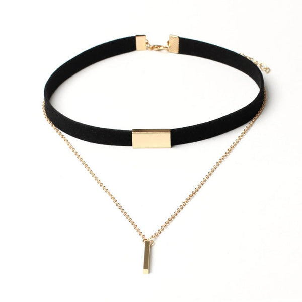 2016 New Black Velvet Choker Necklace Gold Chain Bar Pendant Necklaces For Women Collares Mujer Collier Ras Du Cou