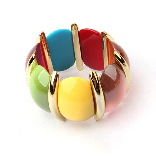 2016 New Brand Bohemian Gold Bracelet For Women Elastic Big Acrylic Female Bracelets Bracelete Feminino Boheme Jewelry Love Gift