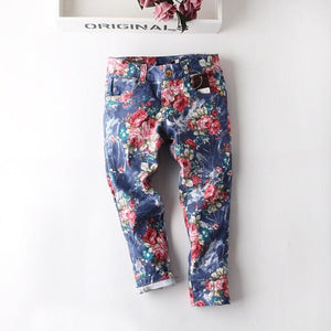2016 New Children's Jeans Fashion Summer Thin Section Girls Jeans Fit for 3-9y Casual Children Trousers Baby Girl Floral Pants