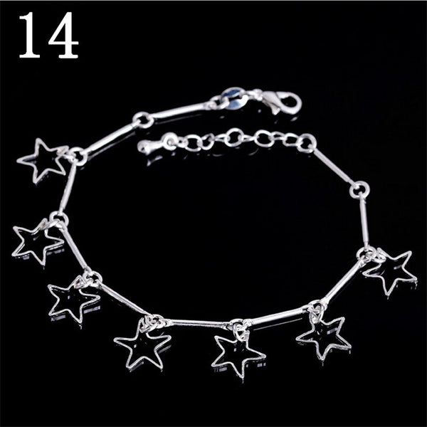 2016 New Fashion Silver Plated Jewelry Bracelets & Bangles Solid 5 Love Heart Charm Bracelets For Women pulseras SL-006