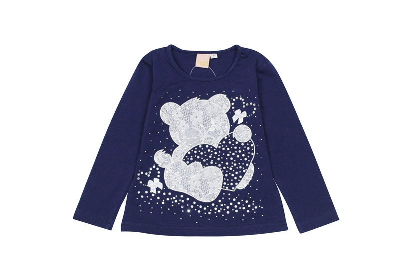 2016 New Fashion spring omika Baby wear Girl Clothes Bear Long Sleeve Cartoon Rhinestone Cute T-Shirts Basic Cotton Knit Tops