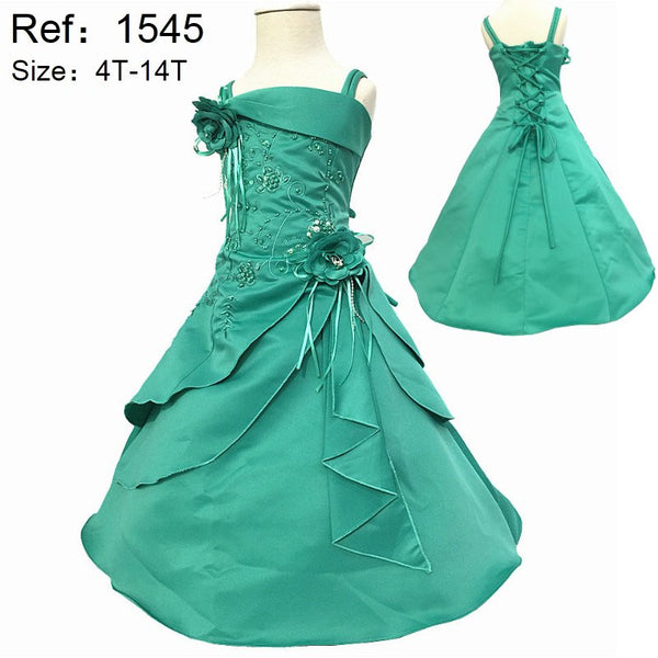 2016 New Girl Dresses Embroidery Mint Green Flower Girl Dresses For weddings Child Party Dress Plus Size 4-10 years Girls X-1545