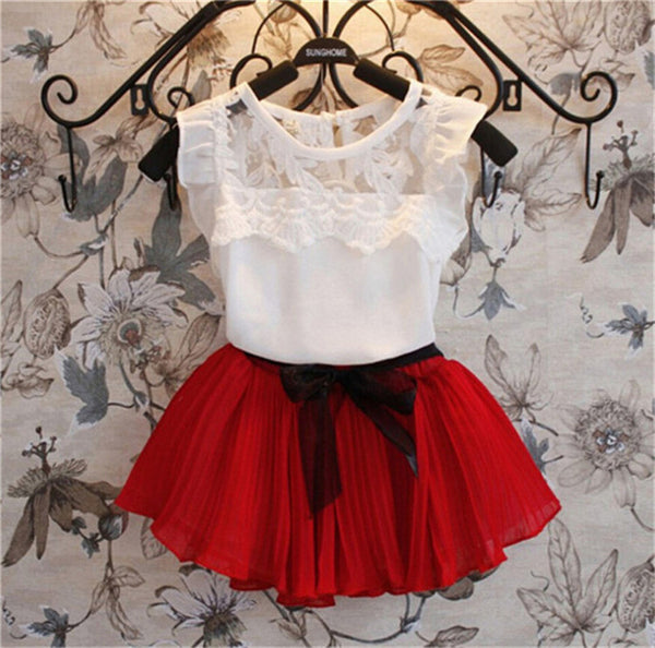 2016 New Girls Clothing Sets Dress + Short T shirt 2 Pcs Set Summer Kids Clothes Fashion Girls Clothes Knitted Children Clothing