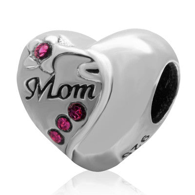 2016 New Heart Mom Beads Fit Pandora Charms bracelets Authentic 100% 925 sterling silver Jewelry DIY Making