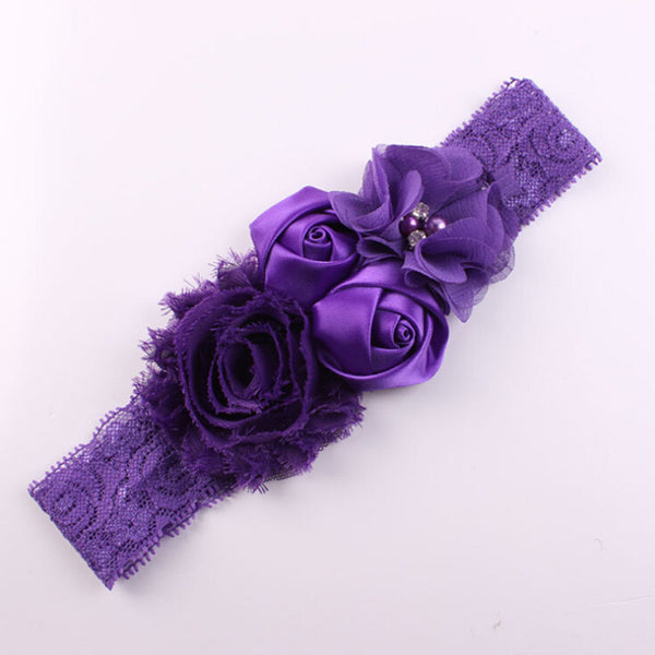 2016 New Lace Baby Headband Chic Lace Mix 4 Flower Princess Girls Headband Hair Bow Headband Baby Girl Children Hair Accessories