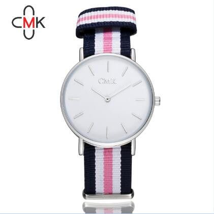 Cmk Fabric Quartz Stainless Steel Quartz Wristwatches Women Cmk Watch