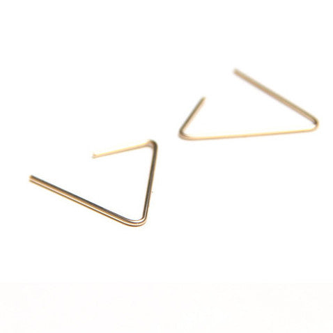 2016 New Minimalist Brief Style Gold Silver Black Plated Triangle Openings Studs Earrings For Women Earings Fashion Jewelry