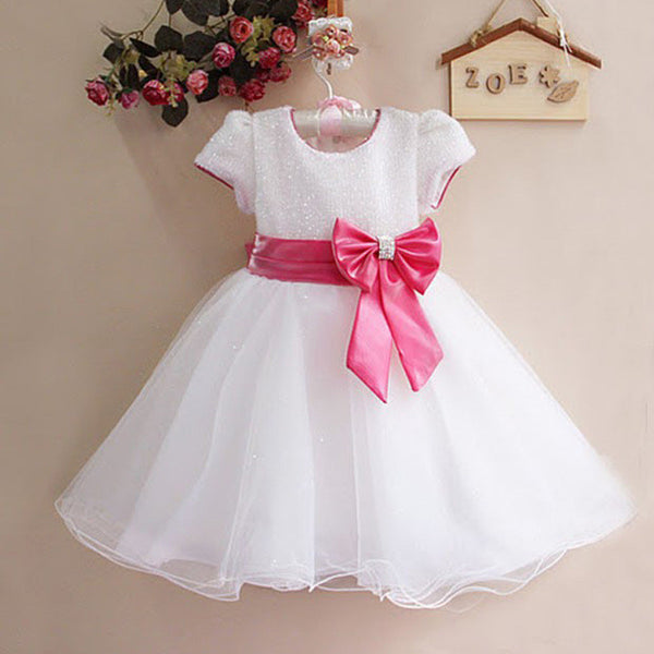 2016 New Summer Girl Dress With Big Bow Baby Girls Princess Flower Party Dresses Children Clothing Vestidos de Menina Infants