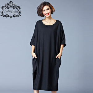 2016 New Summer Style Dress Plus Size Women Cotton Tshirt Dresses Casual Clothes Solid Loose O-Neck Fashion Lady Large Size Tops
