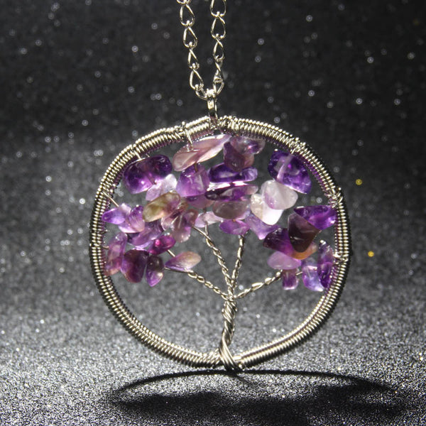 2016 New arrival Women Rainbow Chakra Amethyst Tree Of Life Pendant Necklace Multicolor Wisdom Tree Natural Stone Necklace