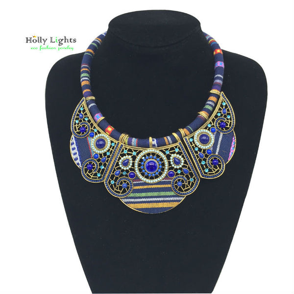 2016 New women fashion bohemian necklace&pendants modern hippie marine blue big name choker necklace tribal ethnic boho mujer