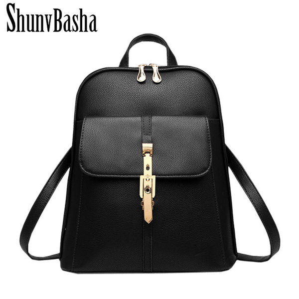 Shunvbasha Lock Solid Pu Backpacks Women