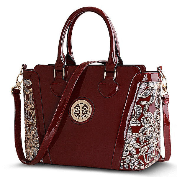 Redberry Appliques Solid Patent Leather Handbags Women Ad20160088