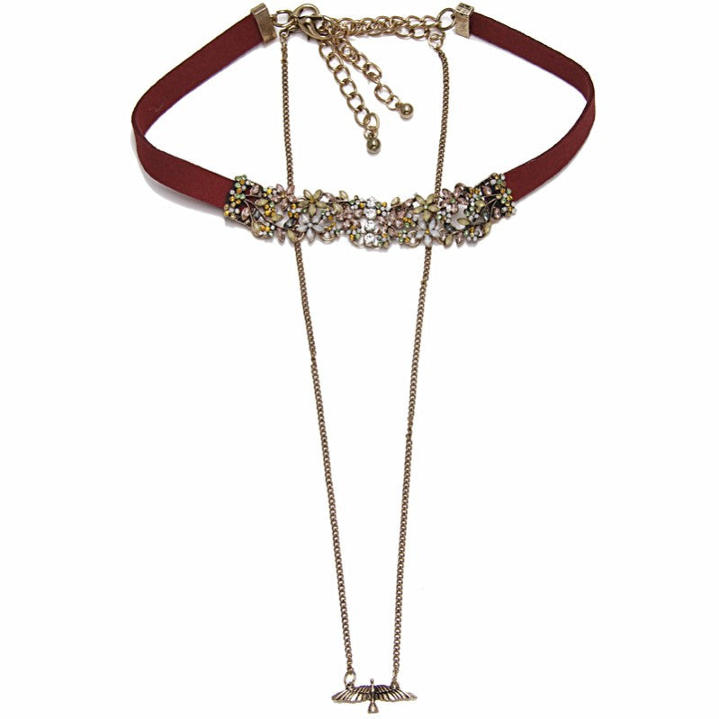 2016 Simplicity ZA Necklace Women Boho Metal Peace Doves Charm Long Chunky Chain Statement Leather Choker Necklace Jewelry NK830
