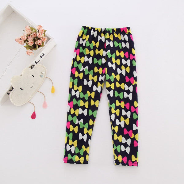 2016 Spring Autumn Baby Girls Thicken Velvet Warm Leggings Toddler Little Girl Pants Kids Children Leggings For 2~7 Years KF024