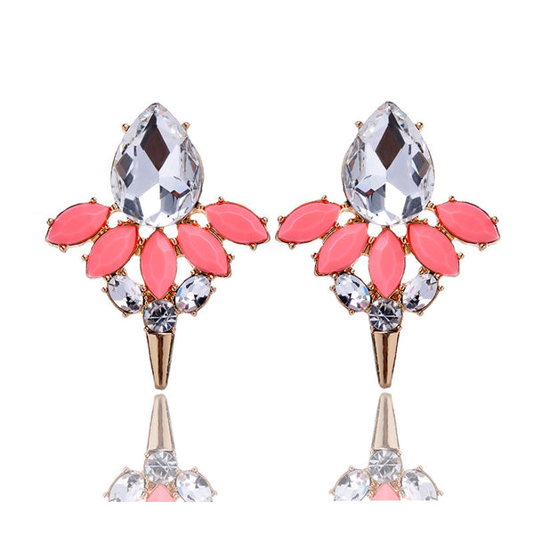 27th Trendy Zinc Alloy Resin Stud Earrings Women