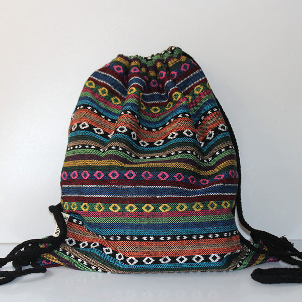 Lilyhood Embroidery Geometric Cotton Fabric Backpacks Women Ys453