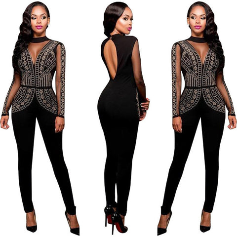 2016 Womens Rompers Winter Autumn Club Party Black Red blue O-neck Hot Drilling Long Mesh Sleeves Bodycon Jumpsuit Plus Size