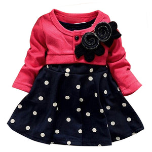 2016 autumn 1-6 years child clothing children clothes corsage girl dress dresses baby princess dress polka dot mock 2 pcs