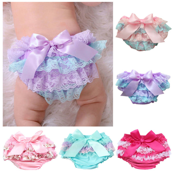 2016 Baby Infant Bloomers Diaper Cover Newborn Cute Cotton Ruffled Panties Baby Girls Lace Bow Crumple Kids Shorts Baby Chemise
