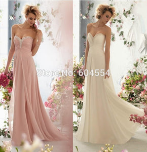 2016 Chiffon Pink Light Champagne Bridesmaid Dress In Stock Dress Vestido De Festa Fe Casamento US4-6-8-10-12-14