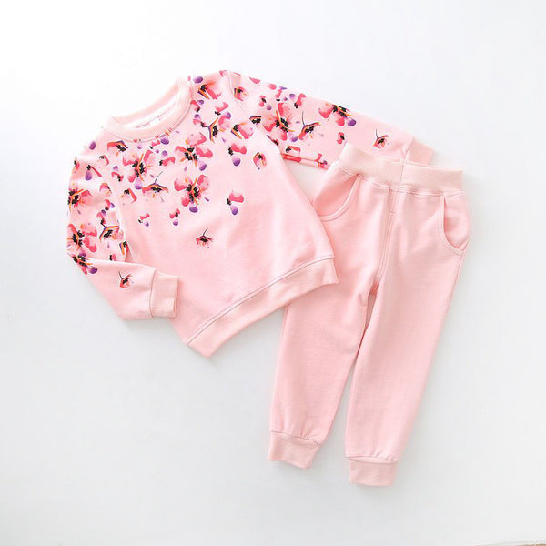 2016 children's Princess boutique outfits clothes sets for kids girl flower cotton princess sweater trouser costume suit