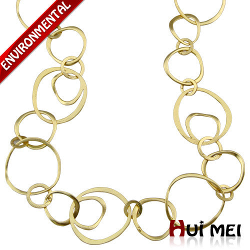 2016 Collars New Arrival Fashion Women Shiny Gold Silver Plated Long Hoop Chain Statement Necklaces Bohemia Casual Jewelry